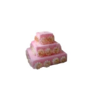 """Свеча-067, """"Торт с цветами"""", 12x12x10см"""