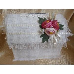 Сундук для денег - 024, натуральный лен, размер XL