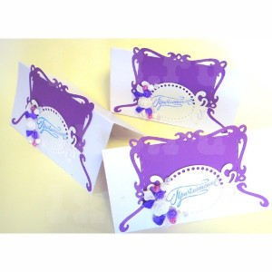 Приглашение на свадьбу - 011, бело-фиолетовые, уп. 10шт.