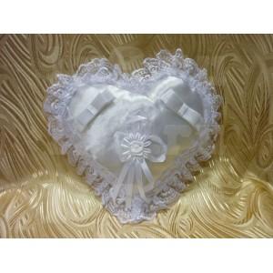 Подушка для колец, сердце с кружевом