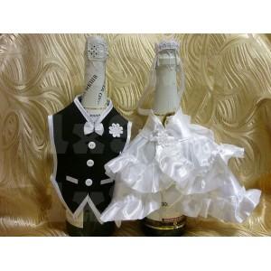 """Комплект """"Жених и невеста"""" - 2, с двойной оборкой"""