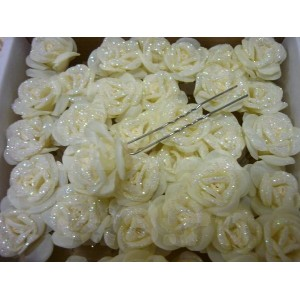 """Цветок на шпильке """"Роза"""" большая с напылением"""