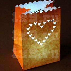 """Пакет светящийся """"Большое сердце"""", 26x15см"""